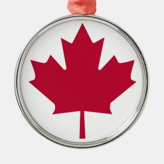 Diseño de la hoja de arce de la bandera de Canadá Adorno Redondo Plateado