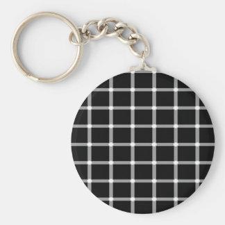 Diseño de la ilusión óptica de la rejilla llavero redondo tipo chapa
