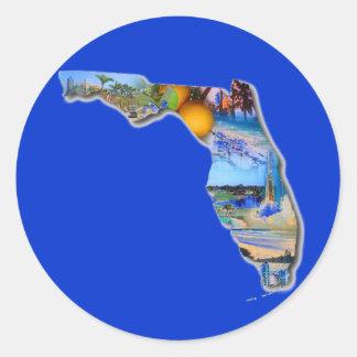 DISEÑO DE LA IMAGEN DE LA FLORIDA PEGATINA REDONDA