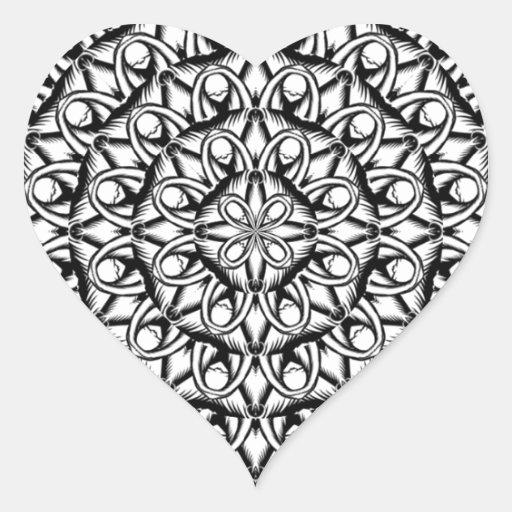 Diseño de la impresión de la mandala en blanco y n pegatinas de corazon personalizadas