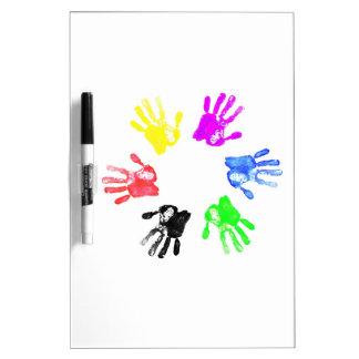 Diseño de la impresión de la mano pizarras blancas