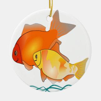 Diseño de la impresión de los amigos del Goldfish Adorno Redondo De Cerámica