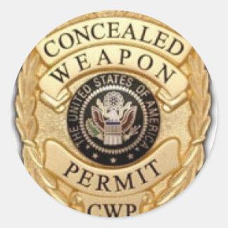 diseño de la insignia del CCW Pegatina Redonda