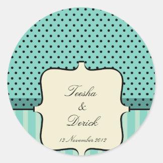 Diseño de la invitación del boda por Kanjiz Pegatina Redonda