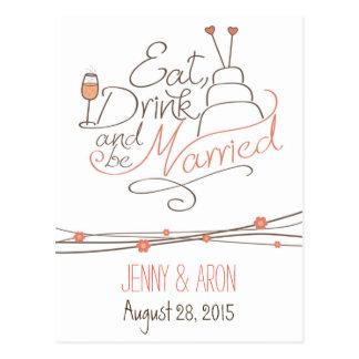 Diseño de la invitación del boda postales
