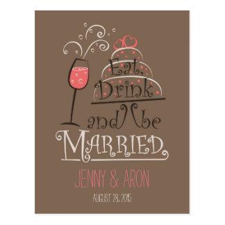Diseño de la invitación del boda tarjeta postal