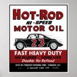 Diseño de la lata del aceite de motor del coche de posters
