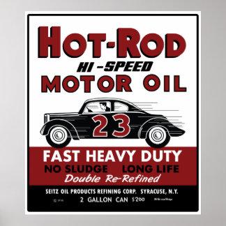 Diseño de la lata del aceite de motor del coche de póster