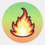 Diseño de la llama del fuego pegatina redonda