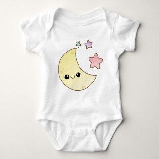 Diseño de la luna y de las estrellas de Kawaii Body Para Bebé