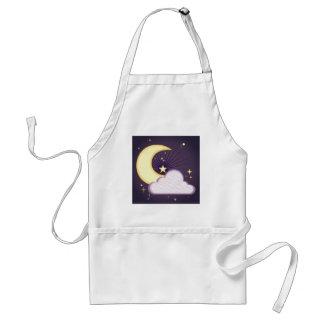 Diseño de la luna y de las estrellas delantal