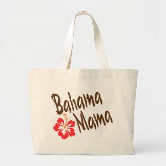 Diseño de la mamá de Bahama con la flor de Hibisuc Bolsa De Tela Grande