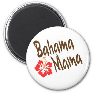 Diseño de la mamá de Bahama con la flor de Hibisuc Imán Redondo 5 Cm