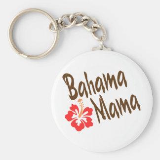 Diseño de la mamá de Bahama con la flor de Hibisuc Llavero Redondo Tipo Pin