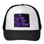 Diseño de la mamá de la púrpura te amo gorras