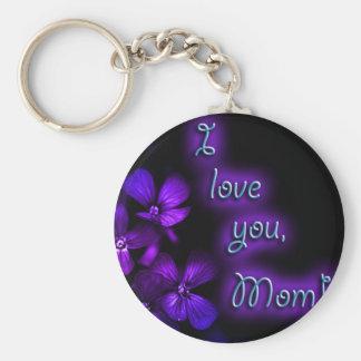 Diseño de la mamá de la púrpura te amo llavero personalizado