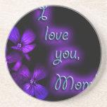 Diseño de la mamá de la púrpura te amo posavasos para bebidas