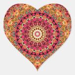 Diseño de la mandala de Magdalena Pegatina En Forma De Corazón