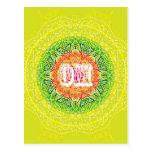 Diseño de la mandala de OM para la yoga Postal