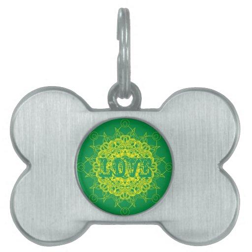 Diseño de la mandala del amor placas mascota