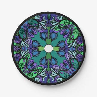 diseño de la mandala plato de papel 17,78 cm