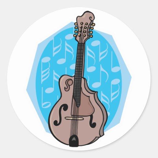 diseño de la mandolina pegatina redonda
