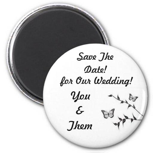 ¡Diseño de la mariposa, casando reserva la fecha! Imán Para Frigorífico
