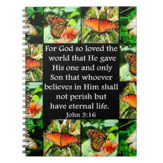 DISEÑO DE LA MARIPOSA DEL 3:16 DE JUAN LIBRETAS