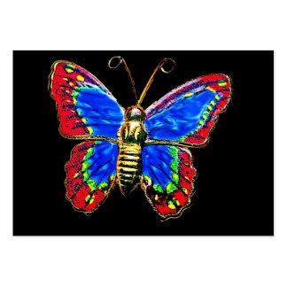 Diseño de la mariposa del arte en rojo y azul en n plantillas de tarjeta de negocio