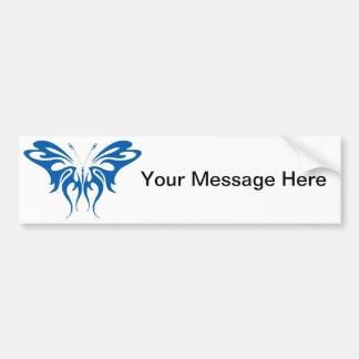Diseño de la mariposa del cordón de la tinta azul pegatina para auto