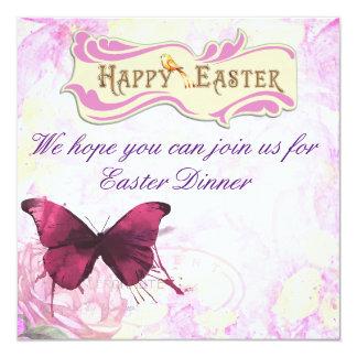 """Diseño de la mariposa del fiesta de cena de Pascua Invitación 5.25"""" X 5.25"""""""