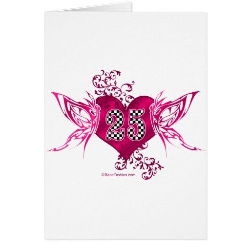 diseño de la mariposa del número 25 el competir co felicitación