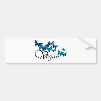 Diseño de la mariposa del vegano etiqueta de parachoque