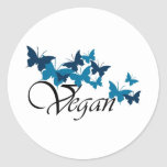 Diseño de la mariposa del vegano pegatina redonda
