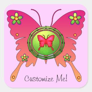 Diseño de la mariposa pegatina cuadrada