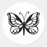 diseño de la mariposa pegatina redonda