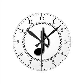 Diseño de la música de la octava nota relojes