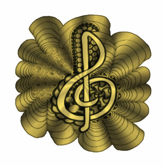 Diseño de la música del Clef agudo del oro Imán Fotoescultura