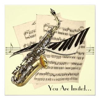 """Diseño de la música del saxofón invitación 5.25"""" x 5.25"""""""