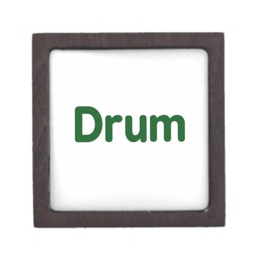 diseño de la música del verde del texto del tambor cajas de joyas de calidad