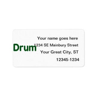 diseño de la música del verde del texto del tambor etiqueta de dirección
