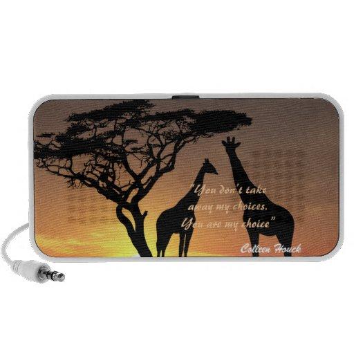 Diseño de la naturaleza de las jirafas de la cita  laptop altavoz