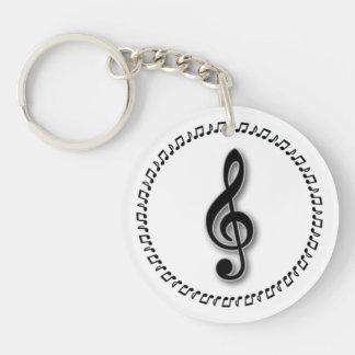 Diseño de la nota de la música del Clef agudo Llaveros