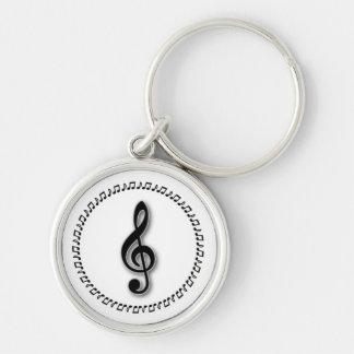 Diseño de la nota de la música del Clef agudo Llavero Redondo Plateado