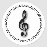 Diseño de la nota de la música del Clef agudo Pegatinas