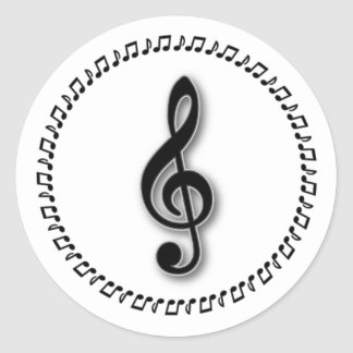 Diseño de la nota de la música del Clef agudo Pegatina Redonda