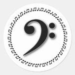 Diseño de la nota de la música del Clef bajo Etiquetas Redondas