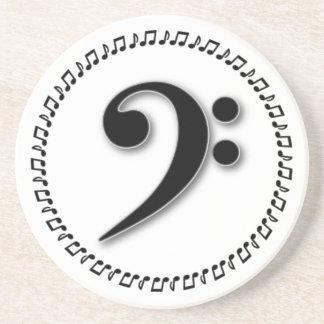 Diseño de la nota de la música del Clef bajo Posavasos Personalizados