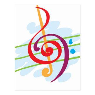 Diseño de la nota musical tarjetas postales