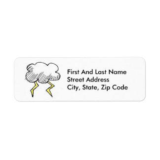 Diseño de la nube de tormenta del dibujo animado etiqueta de remite